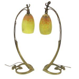 """Muller Frères """"Darboy"""" Bronze lamps – Art nouveau"""
