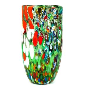 Murano - Flat Green Fantasy Murrina Pot - Vase