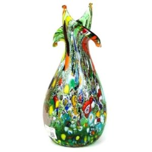 Imperio Rossi Murano Green Fantasy Murrina Cutting Jar - Glass