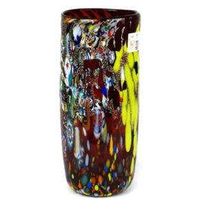 Imperio Rossi Murano Red Fantasy Murrina Cylinder Jar - Glass