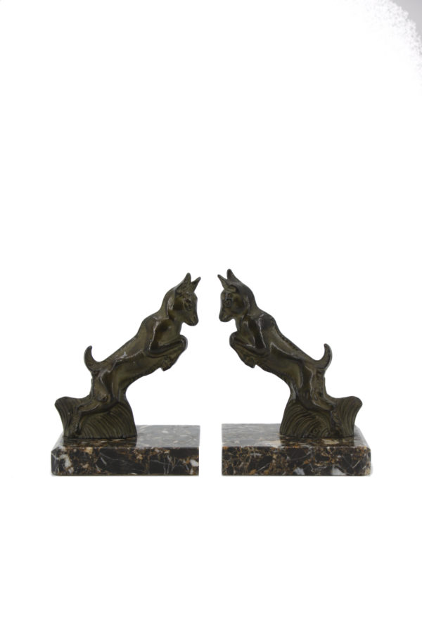 Bronze Bookends Bookends with bronze goats on marble base