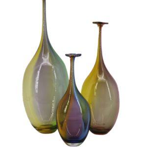 Kosta Boda Kjell Engman Set of 3 Bottle Vases Fidji Crystal 1