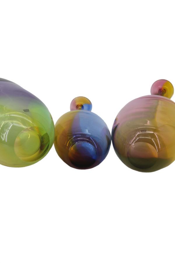 Kosta Boda Kjell Engman Set of 3 Bottle Vases Fidji Crystal 2