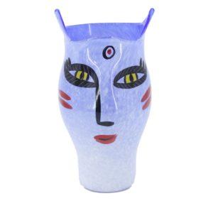 Kosta Boda - Ulrica Hydman Vallien OPEN MINDS Face large glass vase blue
