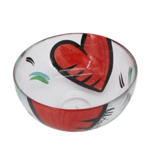 Kosta Boda - Ulrica Hydman Vallien - Large glass bowl with 2 hand-painted red hearts 1