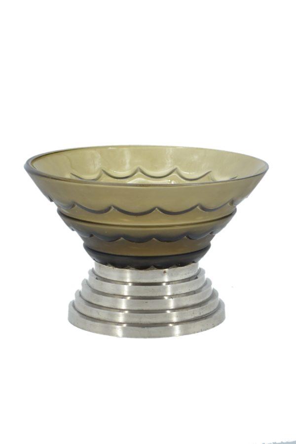 LORRAIN (Daum) - Art Deco molded glass bowl - signed 1
