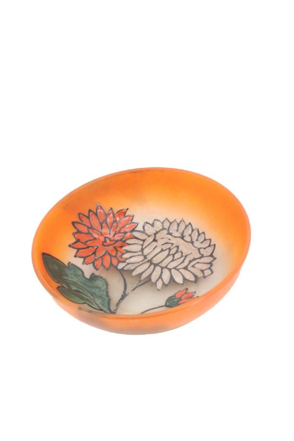 Leune Daum glass bowl- plate decorated with enamel 1