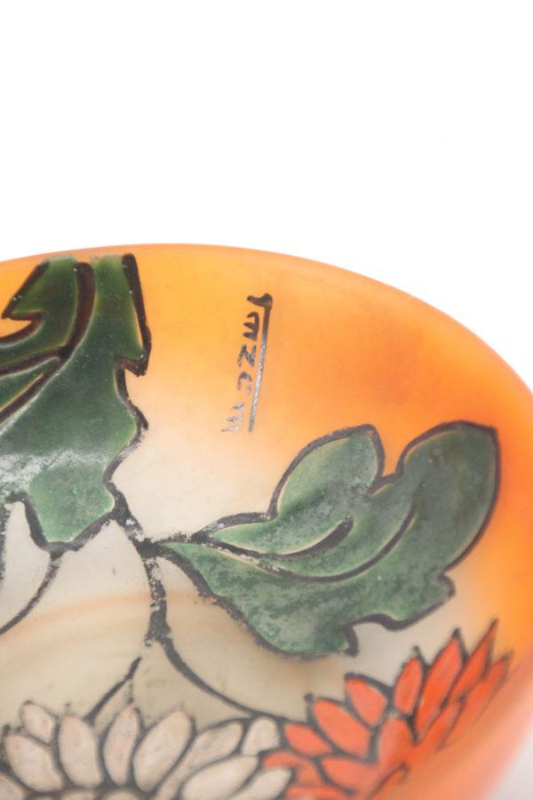 Leune Daum glass bowl- plate decorated with enamel 2